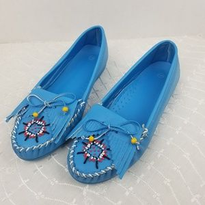 Shoes - Turquoise Beaded Moccasins Flats